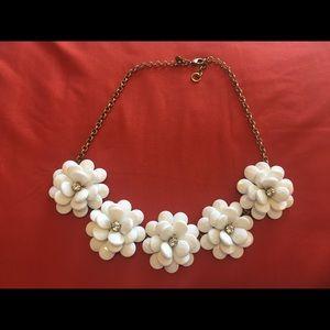 J Crew Flower Necklace White